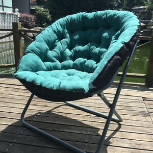 Moon Folding Chair Portable Couch Lazy Chair Soft  Cloth Cushion Warm Seat