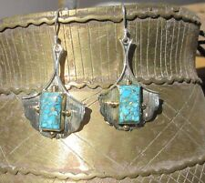 Ohrring Türkis Blatt Ginkgo Kupfertürkis blau Sterling Silber 925