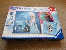"Kids JIGSAW Puzzles  DISNEY FROZEN 3 x 49 piece "" Elsa, Anna & Olaf """
