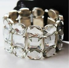 SILVER TONE CHUNKY VINTAGE LOOK FACETED CLEAR ACRYLIC CRYSTAL STRETCH BRACELET