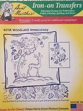 Aunt Martha's Hot Iron Transfer 4018 Woodland Embroidery NEW
