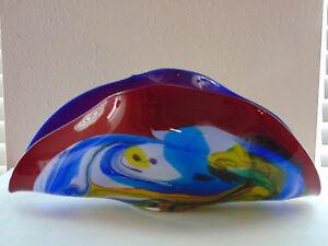 "HUGE 17.5"" Wide Folded Cobalt Blue Aqua Yellow Art Glass Murano Shell Bowl"