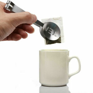 Stainless Teabag Tongs Tea Bag Squeezer Holder Herb Grip Home Kitchen Craft Tool
