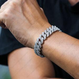 10 mm Round Moissanite Iced Prong Mens link Cuban Bracelet 14k White Gold Finish