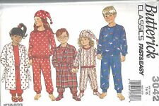 Butterick Sewing Pattern # 3042 Child's Robe Pajamas Booties Hat Size 7-8-10