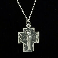 Ave Maria Mary Cross Pendant on Chain Necklace Dove Confirmation Holy Spirit