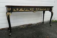 Vintage Oriental Asian Black Chinoiserie Console Library Table TV Stand 1356