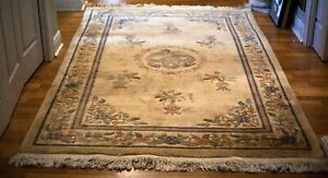 Antique Art Deco Oriental Rug Hand knotted Wool 5x8 Dirt & Water Stains 1910-20