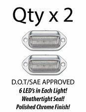 6 LED LICENSE PLATE TAG LIGHT CHROME BOAT TRAILER RV TRUCK EAR MOUNT - QTY 2