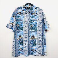 Hang Ten Vintage 90s Mens Shirt Button Front Hawaiian Surf Skate Size L