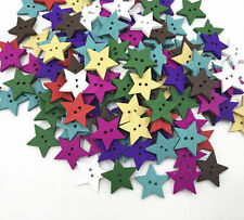 50PCS Wooden Mixed color 2-Holes star shapes Buttons Scrapbooking Sewing 18mm