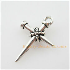 5Pcs Tibetan Silver Tone Nail Cross Charms Pendants 16x24mm