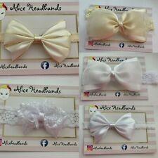 White/Cream Christening Baby Headband Baptism Wedding Bow Lace Bow Lace Band