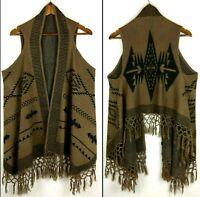 Aztec Navajo Womens Sweater One Size Southwestern Fringe Cardigan Shawl