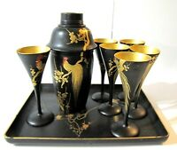 Vintage Japanese Black Lacquer Gold Gilt Rooster Cocktail Set Tray Shaker 6 Cups
