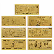 7PCS Gold Foil Banknote USA 1 Dollar Bill Currency Money Q6M5 Metal Paper P K2A8