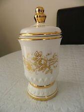 Vintage Crown Devon Fielding tea caddy / storage jar - white and gold