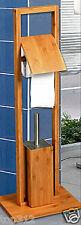 Badezimmer Toiletten WC Bürste Papierrollen Halter Garnitur Ständer Bambus