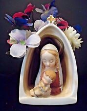NAPCO Mother Mary & Baby Jesus Ceramic Planter Grotto  #CR3341B 1958 Religious