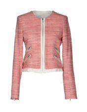 Designer Parker New York Red White Tweed Madison Jacket white leather trim