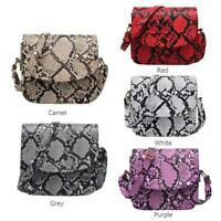 Snake Print Shoulder Messenger Handbags Women Leather Flap Crossbody Bags UK