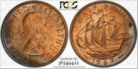 1967 GREAT BRITAIN HALF PENNY BU PCGS MS63RB COLOR TONED COIN IN HIGH GRADE