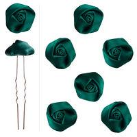 6 épingles pics cheveux chignon mariage danse bouton de rose satin Vert émeraude
