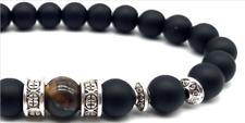 Men's Ladies Shamballa Yoga Healing Bracelet With Black Bead Tiger Eye Stone