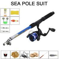 Telescopic Fishing Rod Reel Line Combo Full Kit Spinning Reel Pole Lure 1.8m Hot
