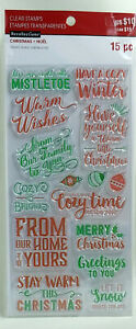 Recollections Christmas Clear Stamps, Christmas Sayings / Words 15 pc - NEW