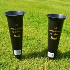 Set Of 2 Son In Loving Memory Memorial Spiked Grave Flower Vases Holde Black New