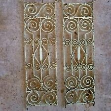 Beautiful Pair of Green and rust Architectural salvage Wrought Iron Panels