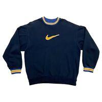Nike Big Embroidered Swoosh Logo Sweatshirt | Vintage 90s Sports Jumper Navy VTG