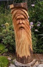 """Green Man Wizard Statue Gnome Tree Spirit Wood Carving Wall Mask Wicca Decor 41"""""""
