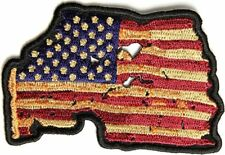 "Vintage Usa Flag Patch 3"" Embroidered Tattered American Flag Fast Us Shipping"