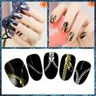 2pcs/set 1 Gold + 1 Silver Nail Art Water Transfers Stickers Decals Zipper
