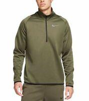 Nike Mens Therma Training Half Zip Top Pullover sz XL Black Khaki  932041-325