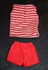 Barbie Mattel Red White Striped Top Shirt Tank Shorts Clothing Outfit Vintage