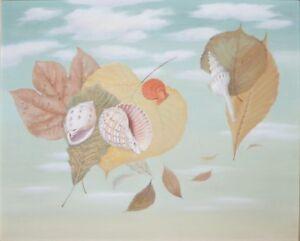 KOHSHO NAMIKI-Japanese Surrealist-Original Signed Oil-Shells & Leaves