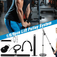 Fitness LAT Pull Down Rope & Lift Pulley System Cable Machine w/Loading Pin
