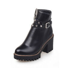 Stiefeletten Ankle Boots Nieten Dick Sohlen 33-43 2018 Neu Outdoors Damenschuhe