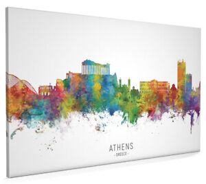 Athens Skyline Greece, Poster, Canvas or Framed Print, watercolour painting 6673