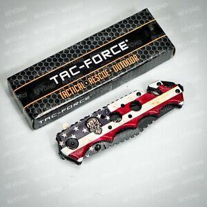 Tac Force Skull Emblem Tactical Rescue Spring Assisted Pocketknife [USA Flag]