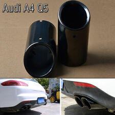 Audi 75mm Black Stainless Steel Exhaust Tail Muffler Tip Pipe For A4 B8 Q5