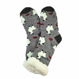 Women Winter Cozy Fuzzy Sherpa Fleece-lined Warm Thermal Non-Skid Slipper Socks