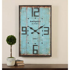Vintage Wall Clock Large Rustic Shabby Wood Shiplap Chic Distressed Barn Blue
