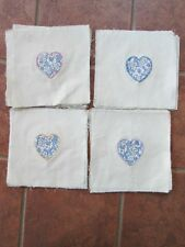 "36 Vintage APPLIQUE QUILT HEART SQUARES,1930's Cotton Design,9.5""x9.5"",On Muslin"