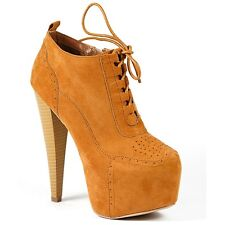Rust Brown Lace Up w Zipper Almond Toe High Heel Platform Boot Bootie Pratt-02