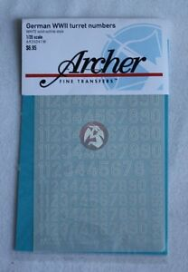 Archer 1/35 German WWII Turret Numbers Non-Stencil Outline (White) AR35041W