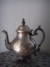 "Antique Floral Ornate Etched Silver Plate Teapot Coffee Pot Vintage 10"""